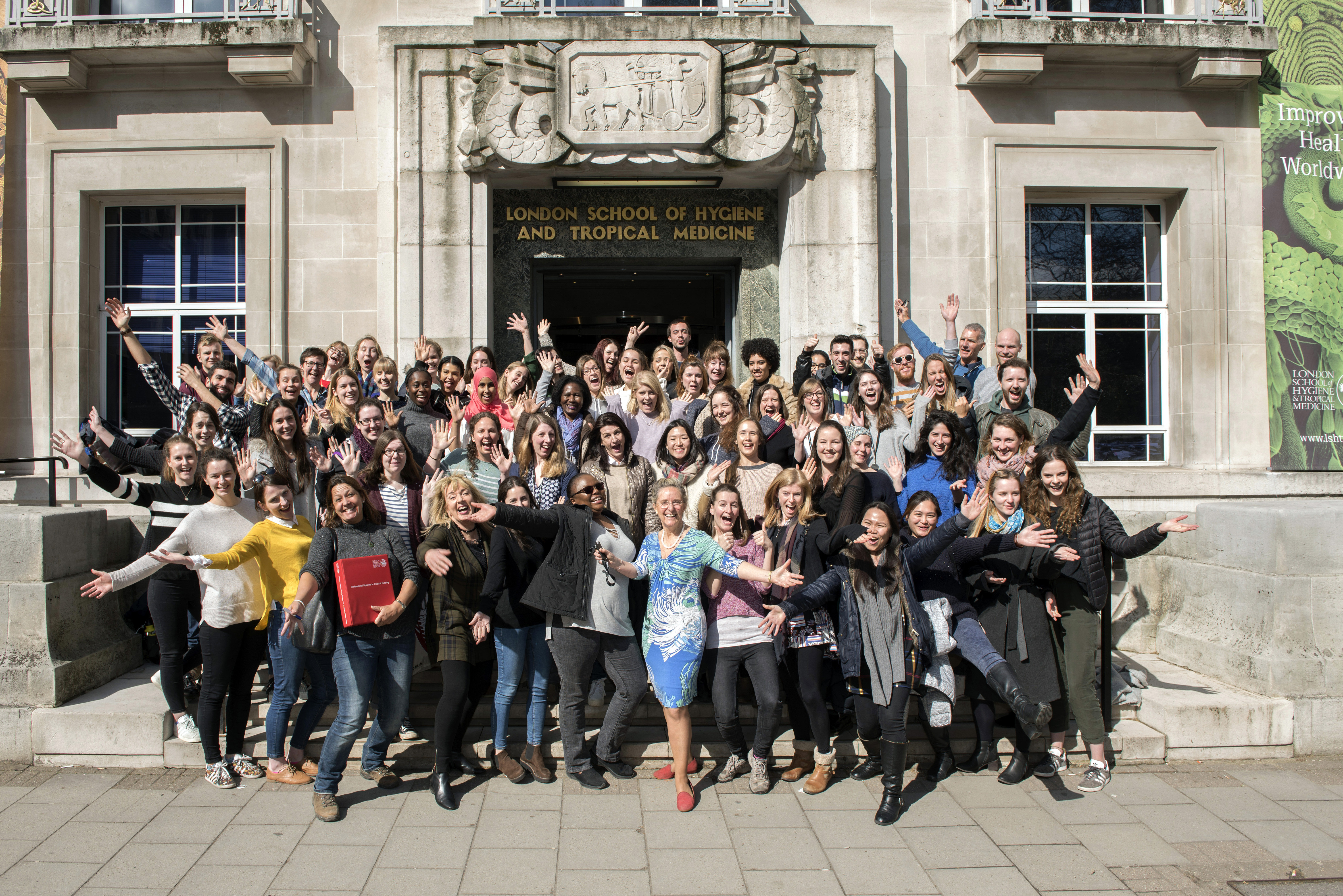 Caption: September 2017 Diploma of Tropical Nursing students in front of LSHTM. Credit: LSHTM