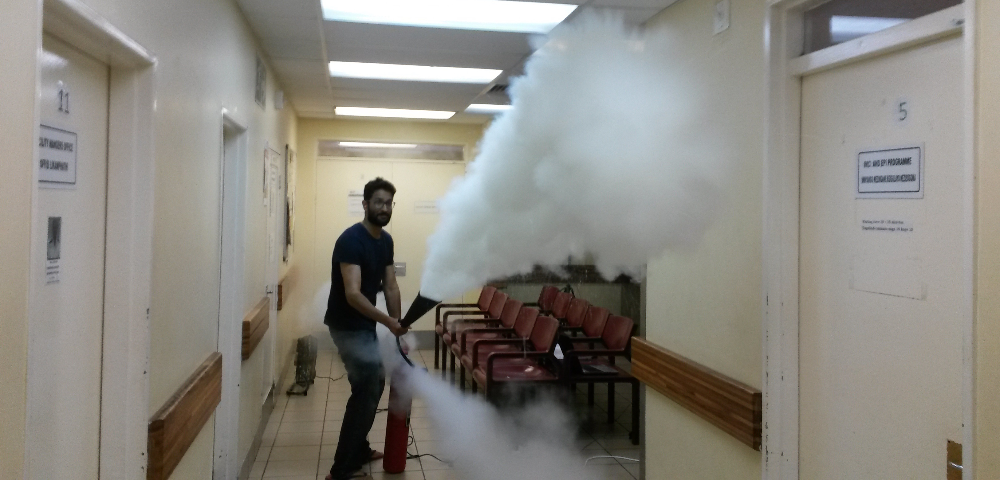 lshtm researcher releasing carbon dioxide to test the ventilation systems in a south african clinic