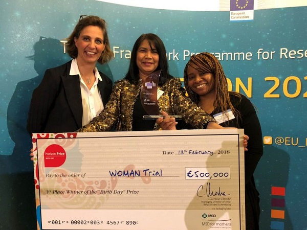 Caption: WOMAN Trial Project Director Haleema Shakur-Still receives the award (centre) with Clarisse Lhoste, MD of MSD Belgium and MSD for Mothers' senior executive ambassador and Tracey Pepple, Senior Data Manager at Clinical Trials Unit, LSHTM (right). Credit: MSD for Mothers