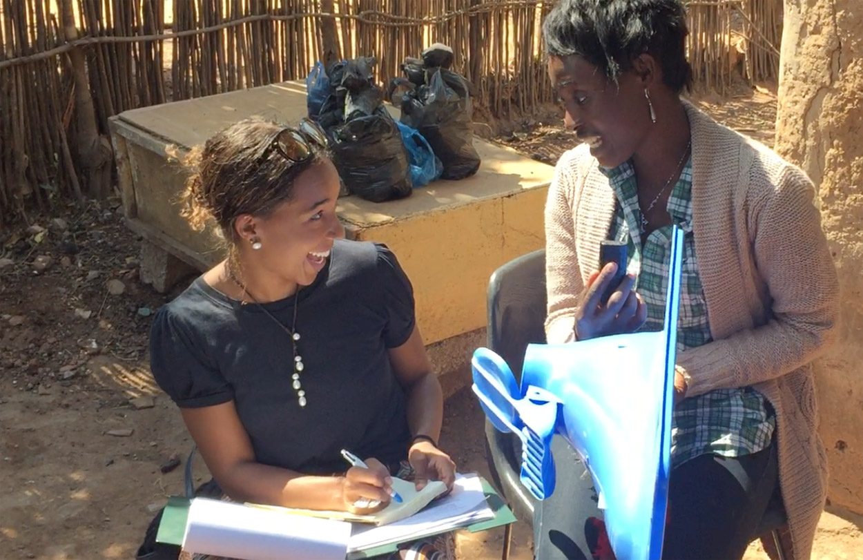 Jasmine working one of the CIDRZ research assistants for her MSc summer project research work in Lusaka, Zambia.