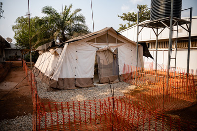 Inside the grounds of the Federal Training Hospital (FETHA) in Abakaliki, a makeshift Lassa Fever holding centre is prepared for quarantining of suspected cases.
