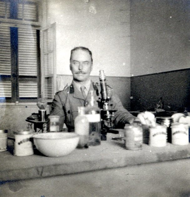 Ronald Ross in a laboratory