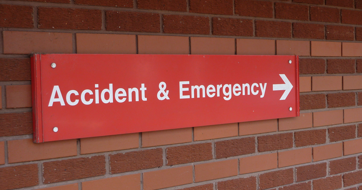 Sign giving directions to the Accident & Emergency department at Warwick Hospital