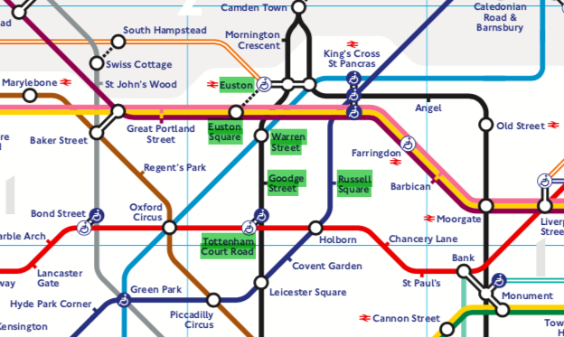 Close-up of the London tube map highlighting the six tube stations nearest to LSHTM