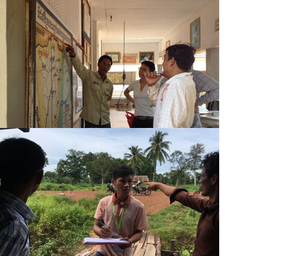 Response team member getting instructions on where to find forest-going co-workers (top); Discussions with health centre staff on where the forest goers are getting malaria (bottom)