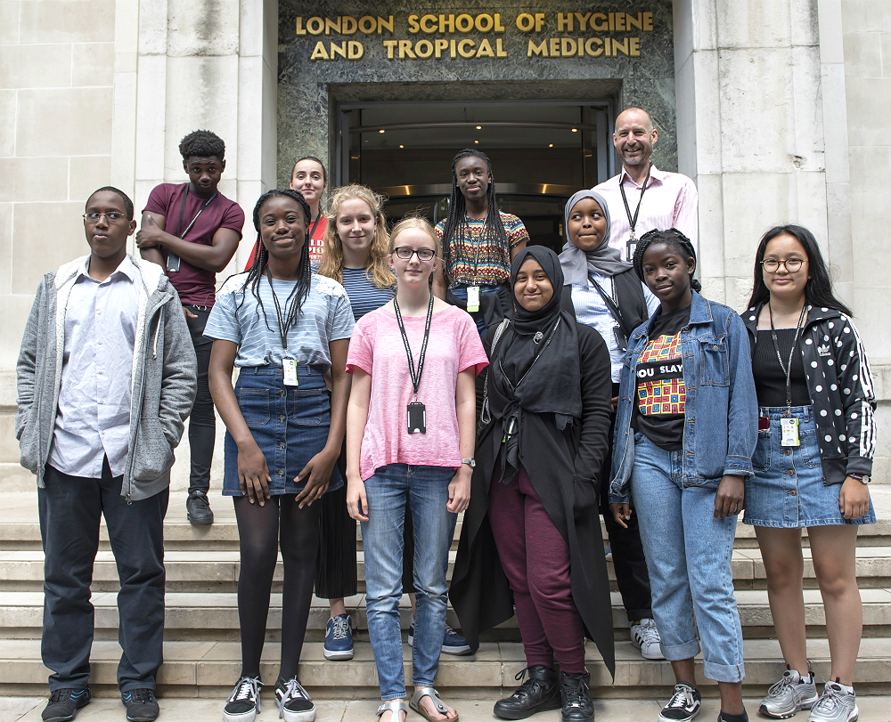 Young Scientists on the steps of the London School of Hygiene & Tropical Medicine Keppel Street building