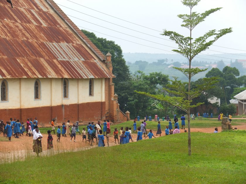 People leaving church, Villa Maria Parish, Uganda: Copyright Sarah Walters