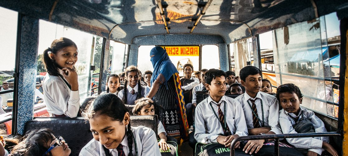 Teenagers on Bus in India