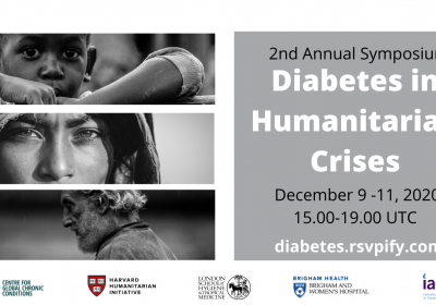 2nd Annual Symposium Diabetes in Humanitarian Crises flyer - it contains date and time of event (9 Dec, 3-7pm), as well as how to register (diabetes.rsvpify.com)