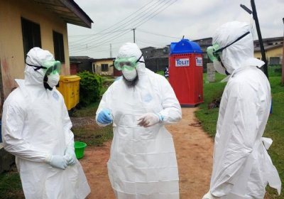 Caption: Nigerian physicians training on use of personal protective equipment for treating Ebola patients 2014 Credit: CDC Public Health Image Library