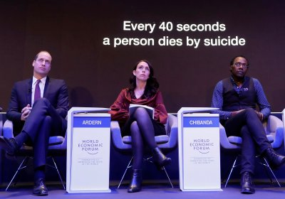"Prince William, Prime Minister of New Zealand Jacinda Ardern and Dixon Chibanda, take part in the ""Mental Health Matters"" panel discussion at the annual meeting of the World Economic Forum in Davos, Switzerland: Credit: Markus Schreiber / AP / Shutterstock"