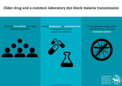 Older drug and a common laboratory dye block malaria transmission. Credit: LSHTM