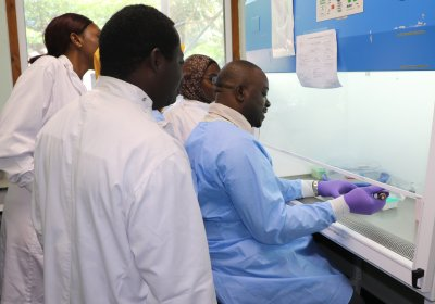 Caption: Dr Alfred Amambua-Ngwa and some of his team. Credit: MRC Unit The Gambia at LSHTM
