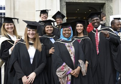 Students celebrating graduation 2017