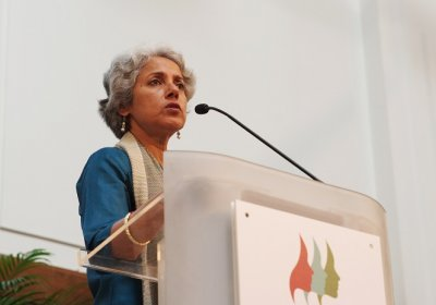 Caption: Dr Soumya Swaminathan speaking at second annual Women Leaders in Global Health conference. Credit: LSHTM