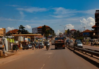 One of the roads in to the Namuwongo slums, Kampala, Uganda