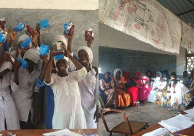 Mothers Club - Training session and Girls in Gambia with Hygiene products