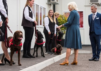 HRH The Duchess of Cornwall visits Medical Detection Dogs. Credit: MDD/BexArts
