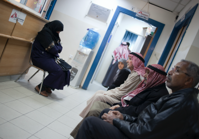 image of patients waiting to see MSF doctors in Damascus