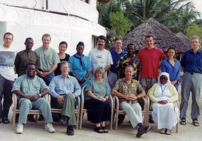 Back row L-R: Martin Holland (now prof at LSHTM), Unknown, Paul Emerson (now director, International Trachoma Initiative), Rosanna Peeling (LSHTM), Unknown, Robin Bailey (LSHTM), Matthew Burton (now prof at LSHTM), Patrick Massae, Anthony Solomon (now lead for trachoma elimination, WHO), Nicola Desmond, Neal Alexander (LSHTM)  Front row L-R: Unknown, Gordon Johnson (Inst. of Ophthalmology), Sheila West (Johns Hopkins), David Mabey, Sister in charge.