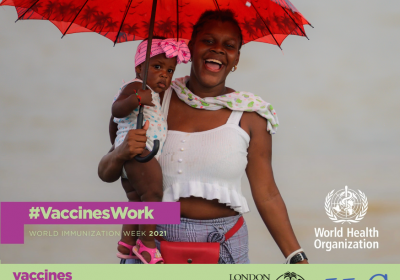 "WHO World Immunisation Week 2021 campaign poster depicting a woman carrying her child. The poster also portrays this year's theme - ""Vaccines bring us closer""."