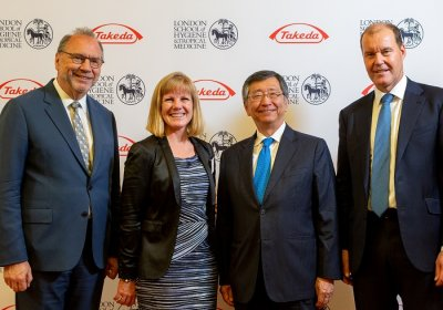 Caption: Professor Peter Piot, Director of LSHTM; Professor Joy Lawn, Director of the Centre for Maternal, Adolescent, Reproductive, & Child Health at LSHTM; His Excellency Mr Koji Tsuruoka, Japanese Ambassador; Christophe Weber, President and CEO of Takeda. Credit: Takeda