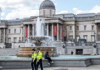 Trafalgar Square fountains during COVID-19 lockdown