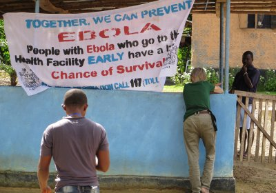 A sign directing people to an Ebola treatment centre in Sierra Leone