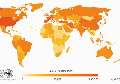 Map of COVID-19 infections April 2020