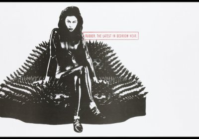 Attribution: A woman dressed in a rubber catsuit sitting on a spiky leather sofa in the shape of lips representing an AIDS prevention advertisement for safe sex and condoms by Action for AIDS, sponsored by Durex condoms. Colour lithograph, ca. 1995. Credit: Wellcome Collection. CC BY-NC