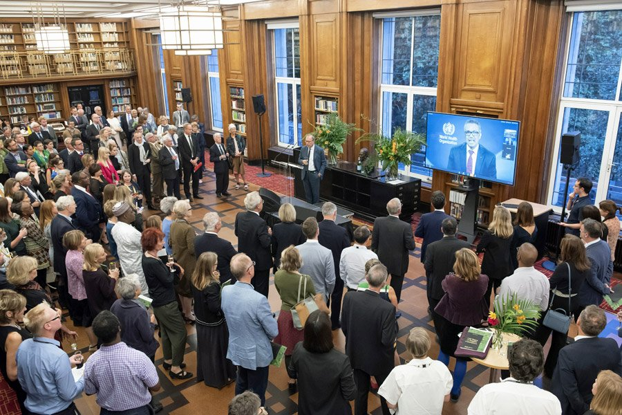 Guests at a 120th anniversary event in the library
