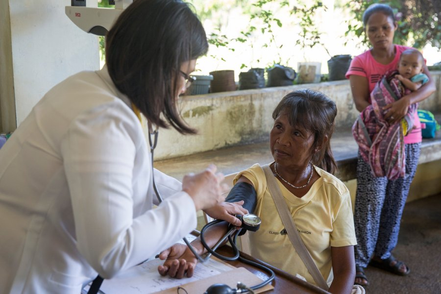 A woman has her blood pressure checked at a rural health unit in Rizal, Palawan, Philippines. Credit: Joshua Paul/LSHTM