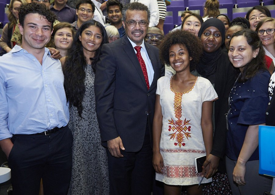 Dr Tedros with School students
