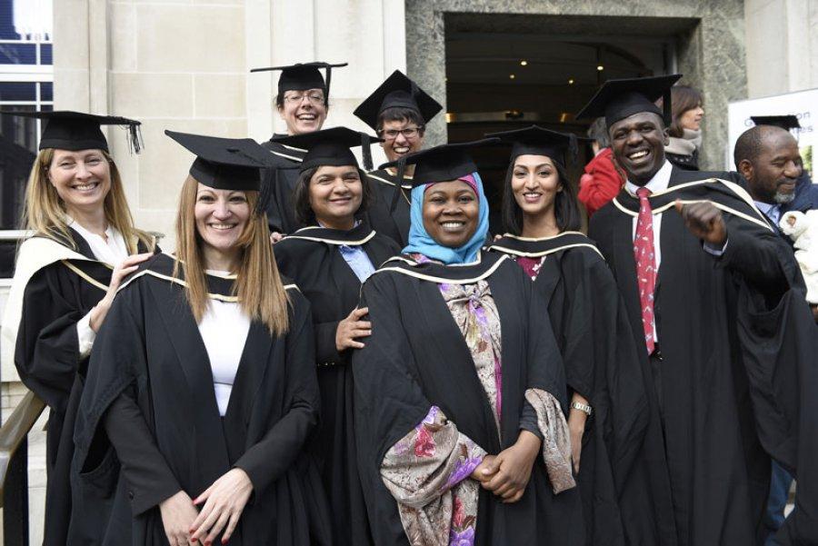 Students celebrating graduation 2017