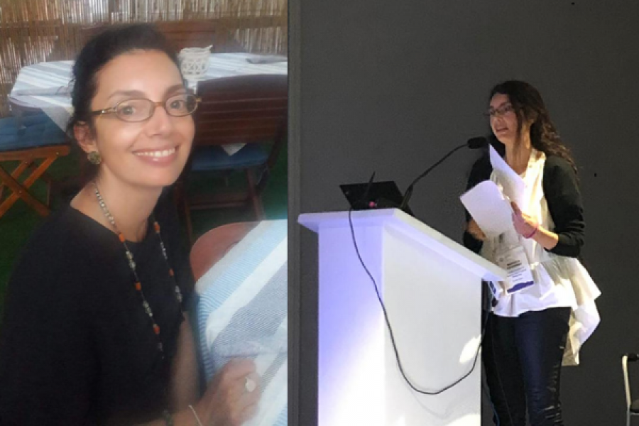 Side by side images of Manuela. On the left hand side she's sat down looking straight at the camera and smiling, on the right she is stood at a lectern presenting.