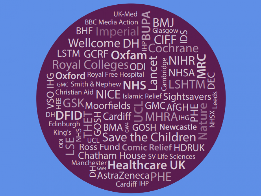Graphic of APPG on Global Health report (2020) with UK health body and charity names