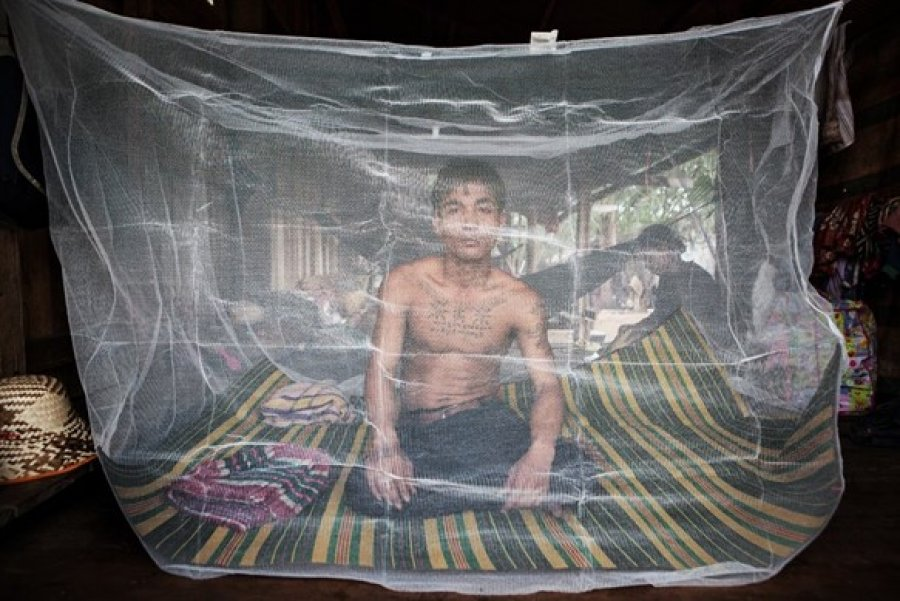 A villager sits behind a mosquito net in western Cambodia. Image credit: Jeffrey Lau. Source: Gillet, K. Combat zone: The fight against malaria in Cambodia. South China Morning Post