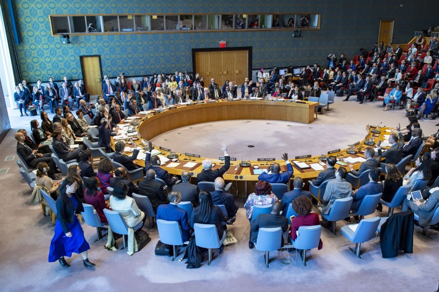 image of un meeting on special resolution 2467