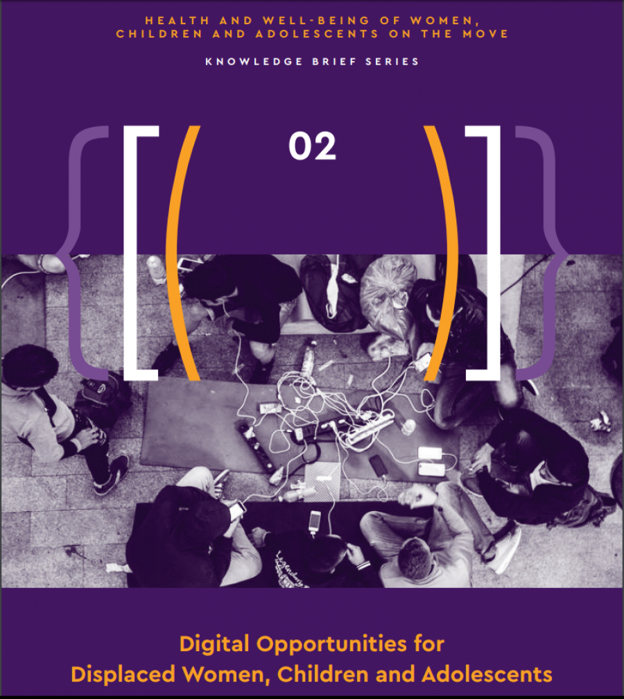 image of front cover of report, people gathered around a table with power cord in middle and electronic devices plugged in