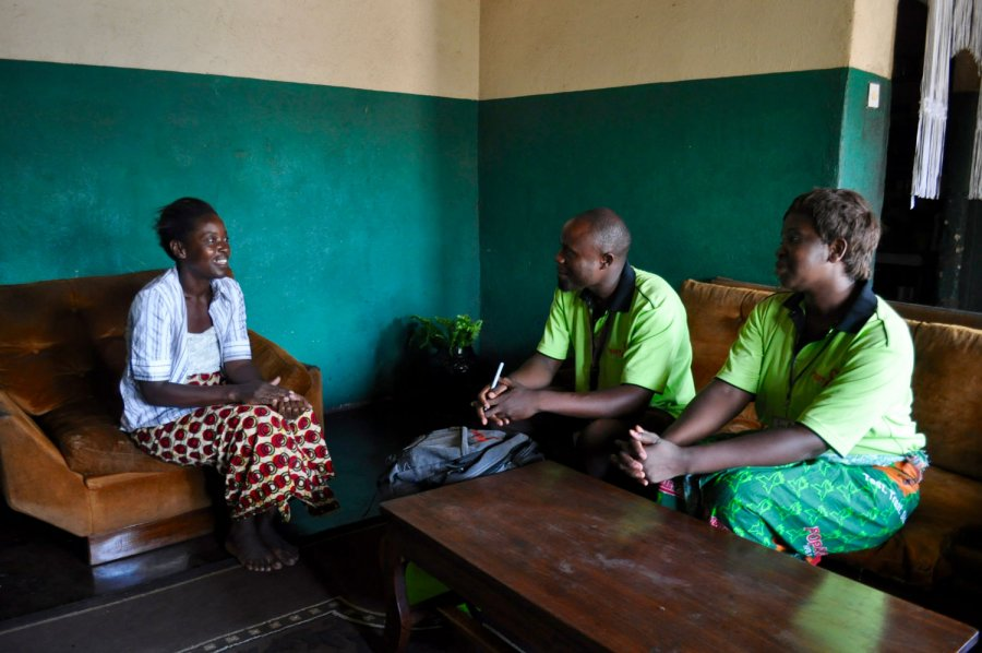 Home visit by community HIV care providers in Zambia