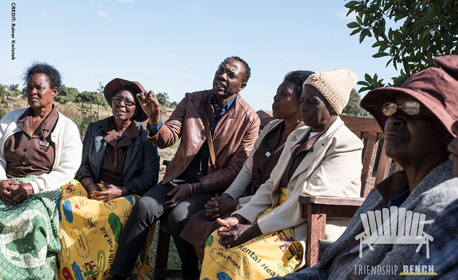 Dr Dixon Chibanda talking to some of the 'grandmothers' on the Friendship Bench