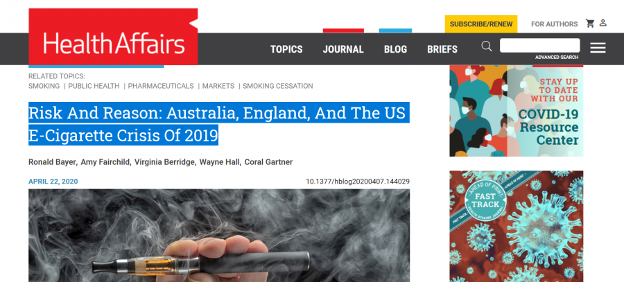 screen shot Risk And Reason: Australia, England, And The US E-Cigarette Crisis Of 2019