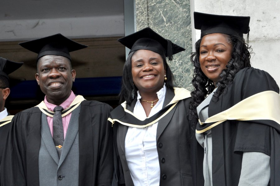 Students celebrating on graduation day