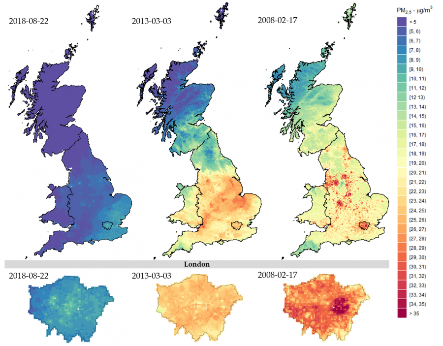 Caption: day-specific PM2.5 estimations across Great Britain (Top) and London (Bottom). Credit: LSHTM/SchneiderGasparrini