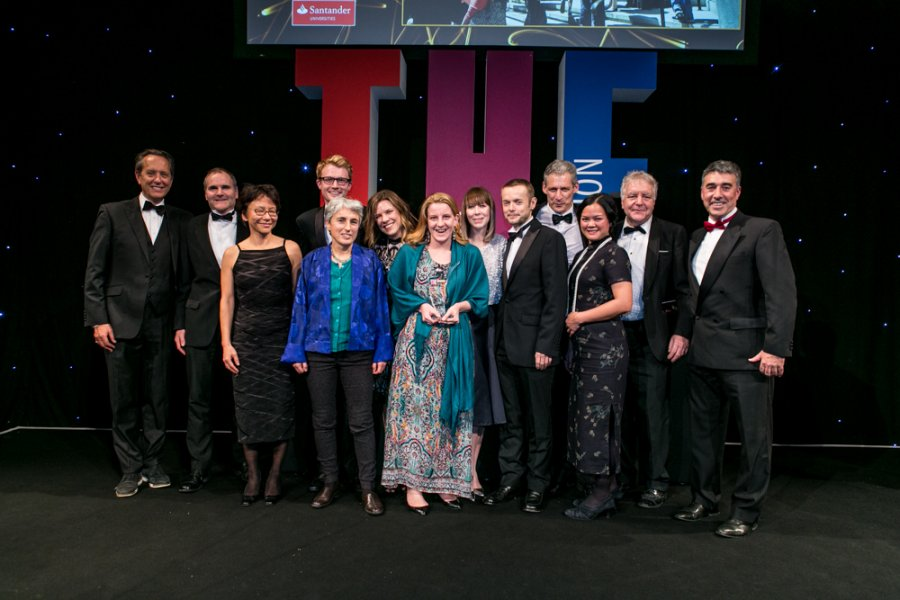 LSHTM staff collecting a Times Higher Education award in 2016