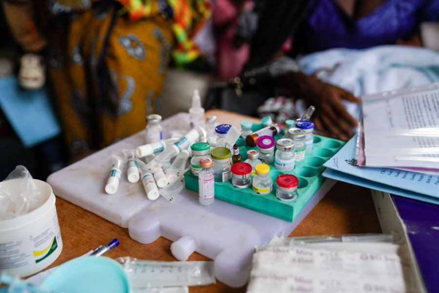 Vaccination vials in Basse Hospital, The Gambia. Credit: Louis Leeson