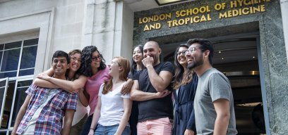 Students outside LSHTM building