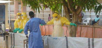 Workers at an Ebola Treatment Centre in Sierra Leone