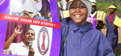 Kenyan girl scout taking part in an AIDS awareness campaign