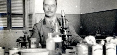 Ronald Ross in lab